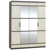 02 Шкаф 4-х створчатый для одежды и белья Карина (Венге темный/Дуб беленый)