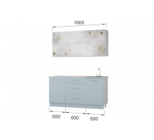 Гарнитур кухонной мебели Флоренс-Скай 1,6 накл.мойка
