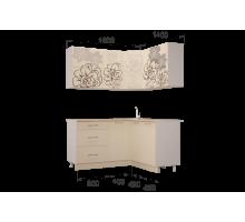 Гарнитур кухонной мебелиБордо-Ваниль угловой 1,4*1,6
