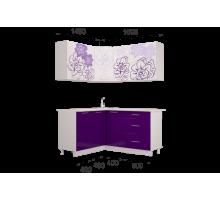 Гарнитур кухонной мебелиБордо-Виолет угловой 1,4*1,6