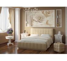 Кровать Лорена 180*200 (без страз) + основание 180, Экокожа Boom cream
