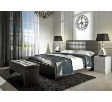 Кровать Лорена 180*200 (без страз) + основание 180 ножка 185 мм-5шт, серый