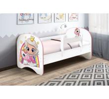 Кровать с фотопечатью без ящиков 800*1600 Принцесса (Белый)