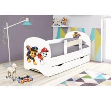 Кровать с фотопечатью без ящиков 800*1600 Щенячий патруль (Белый)