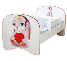 Кровать с фотопечатью без ящиков Зайка 800*1600 (Белый)