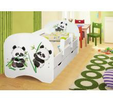 Кровать с фотопечатью с ящиками 800*1600 Пандочки (Белый)