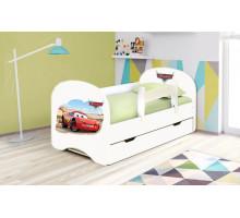 Кровать с фотопечатью с ящиками 800*1600 Тачки (Белый)