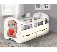 Кровать с фотопечатью с ящиками 800*1600 Зайка (Белый)