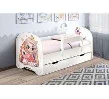 Кровать с фотопечатью с ящиками 800*1900 Принцесса (Белый)