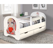 Кровать с фотопечатью с ящиками 800*1900 Зайка (Белый)