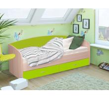 Кровать Софа-1 900 (Дуб беленый/Лайм)