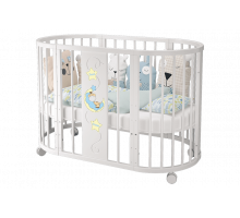 Кроватка детская «Эстель» овальная белая
