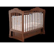 Кроватка детская Амалия 3 маятник + ящик орех