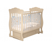 Кроватка детская Елена 3 маятник + ящик слоновая кость
