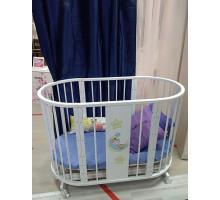 Кроватка детская Эстель овальная белая (выставочный образец)