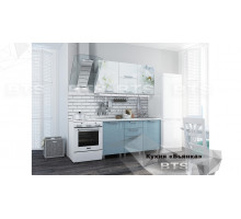 Кухня 1,5 м Бьянка (голубые блестки/фотопечать)