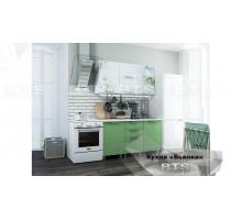 Кухня 1,5 м Бьянка (салатовые блестки/фотопечать)