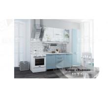 Кухня 2,1м Бьянка (голубые блестки/фотопечать)