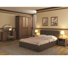 Линда Кровать интерьерная 160*200 (с под. механизмом и ящиком для белья), коричневый
