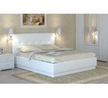 Локарно Кровать интерьерная кожаная 180*200 с латами, белый