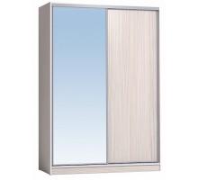 Шкаф-купе 1600 Домашний зеркало/лдсп + шлегель, Бодега Светлый