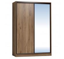 Шкаф-купе 1600 Домашний зеркало/лдсп + шлегель, Дуб табачный Craft