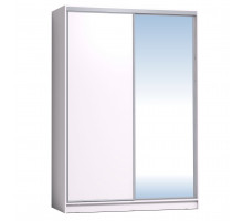 Шкаф-купе 1600 Домашний зеркало/лдсп + шлегель,Белый