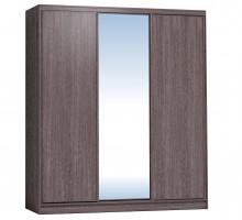 Шкаф-купе 2000 Домашний зеркало/лдсп + шлегель, Ясень Анкор темный