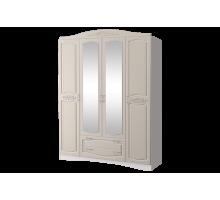 Шкаф 4-х дв.с накладным зеркалом Виола 2 Жемчуг