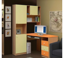 Стол компьютерный-8 (Ваниль/Оранжевый)
